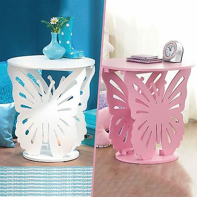 Girls Wooden Butterfly Bedside Table Round Side End Lamp Table Bedroom