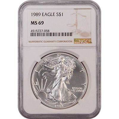 1989 American Silver Eagle NGC MS69 One Dollar Coin