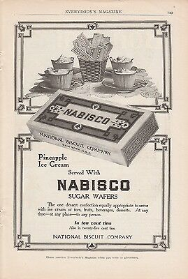 1909 National Biscuit Co Ad: Pineapple Ice Cream Served with Nabisco Sugar Wafer