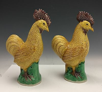 SIGNED Antique Chinese Export Porcelain Pair Mirroring Roosters on Rock Figures