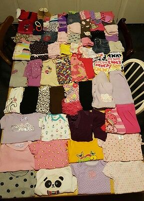 huge 79 piece lot of baby girl clothes sizes 6 to 12 months. Outfits pants etc..