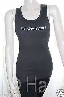 United MFG Group Bridesmaid Tank Top Shirt Black Ribbed Rhinestone Wedding Party
