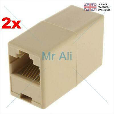 2x RJ45 Cat 5e Network Cable Straight Ethernet LAN Coupler Joiner Connector New