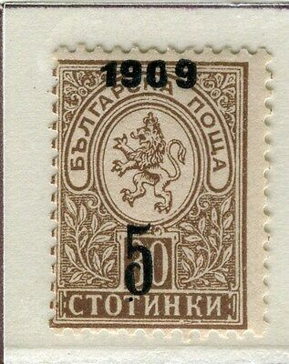 BULGARIA;   1909 Lion Type surcharged issue fine Mint hinged 5/30s. value