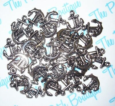 Lot Antique Silver Tone Usn Style Chain Anchor Message Bottle Invitation Charms