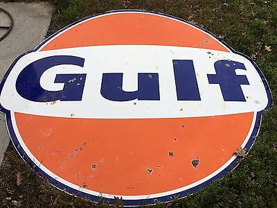 LQQK! OriGiNaL VinTaGE SSP PORCELAIN GULF Pole Sign Gas Oil LARGE 6' Barn Hanger