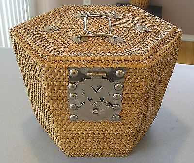 Chinese  Woven Tea/Sewing  Wicker Basket  Metal Latches