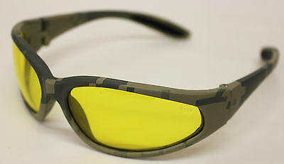 Mlitary Hunting Digital Camo Frame Yellow Shatterproof Lens Sunglasses + Pouch