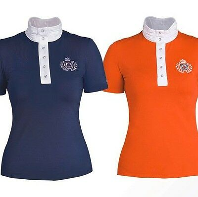 Tournament blouse/Competition shirt Fairplay DIANA with Rhinestone NAVY Blue
