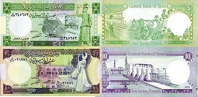 SIRIA - Syria Lot Lotto 2 banconote 5/10 pounds 1991 FDS - UNC