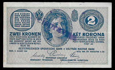 World Paper Money - Austria Hungary 2 Kronen 1914 P17 Cancelled @ XF