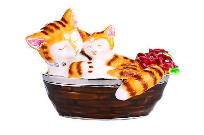 Decorative Enamel Faberge Trinket Jewel Box Cats in Basket 5.5 x 6 x 8 cm