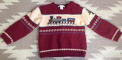 Janie and Jack Boy's Winter Train Sweater Sz 2
