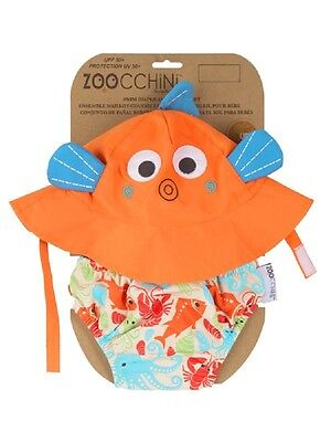 Baby Swim Diaper and Sun Hat Set Ocean Fish 12-24 months FREE SHIPPING!