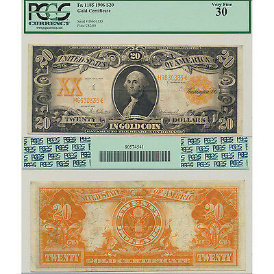 1906 Fr. 1185 $20 Gold Certificate PCGS Currency Certified Very Fine 30 VF30