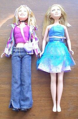 Mary Kate & Ashley Olsen Dolls Mattel Bodies 2001 & 2002 With Outfits