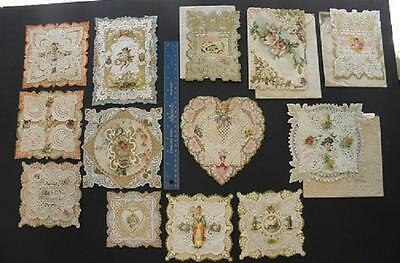 Lot/13 Antique Victorian Valentines*1902*embellished*scraps*layered*lace*cats+++