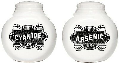 SOURPUSS ARSENIC AND CYANIDE SALT AND PEPPER SHAKERS Pick your poison