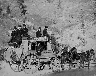 Men Ride Stagecoach With Horses Professional Photo Lab Reprint