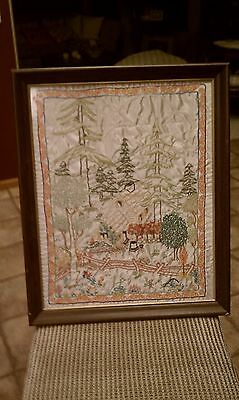 Vintage Antique Framed Hand Embroidered Little House in the Big Woods