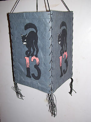 Rare Vintage Halloween Black Cat & Lucky Number 13 Paper Lantern Decoration