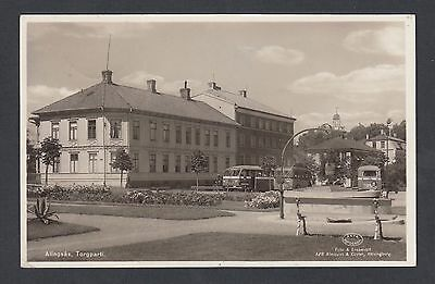 Sweden 1949 Alingsas Town Square Real Photo Postcard Rppc To Goldach