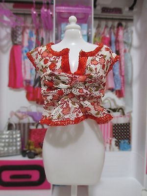 handmade for fashionista Barbie Doll red & white lace fancy top