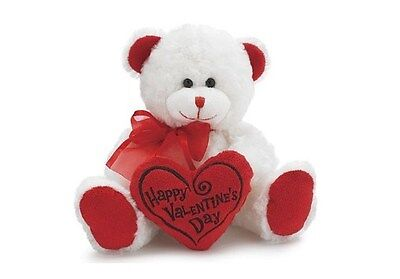 "NEW Happy Valentine's Day Bear 8"" Animal Plush- White with Red Message Pillow"
