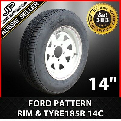"14""ford Sunraysia Rim & Tyre White With 185R 14C Light Truck Trailer Wheel"