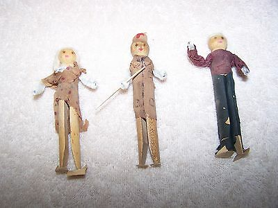 Vintage Wooden Clothes Pin Doll  Pipe Cleaner Arms 3 Dolls