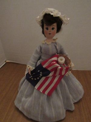 """Hand Made 11"""" Wooden Peg Doll Betsy Ross"""