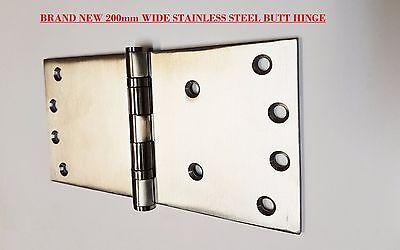 WIDE THROW BUTT HINGES, HEAVY DUTY, SOLID STAINLESS STEEL 3.5mm THICK 100X200mm
