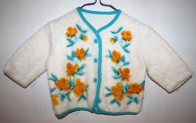 Vintage White Polyester Sweater Yellow Orange Flowers Size 2T-3T