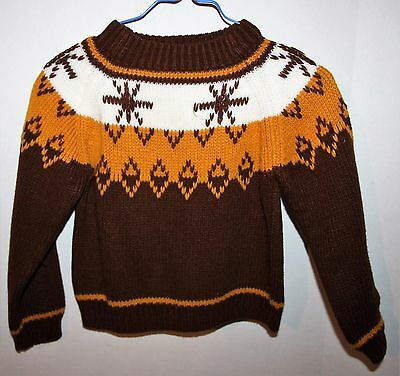 Vintage JcPenny Brown White Tan Acrylic Sweater Boys' Size 2-3