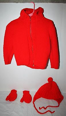 Vintage Red Hooded Sweater with Hat & Mittens Girls' Size 4T