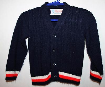 Vintage Blue Bird Acrylic Sweater Boys Size 2T/3T