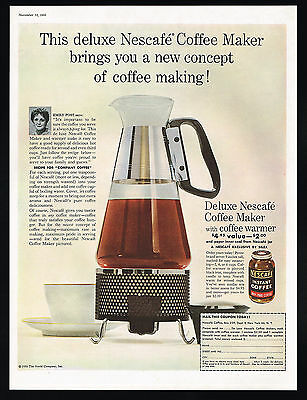1955 Nescafe Coffee Emily Post Photo Coffee Maker Warmer Vintage Print Ad