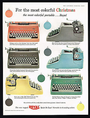 1955 Royal Typewriter Quiet Deluxe 6 Colors Vintage Photo Print Ad