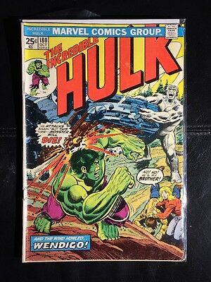 THE INCREDIBLE HULK #180 w/Stamp 1st Wolverine Cameo Marvel 1974 VG