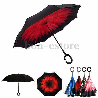 Windproof Big Double Layer Upside Down Inside Inverted Umbrella Reverse Umbrella