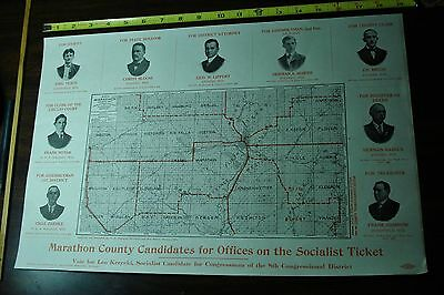 Antique Socialist party ticket Marathon County Wausau WI POSTER MAP