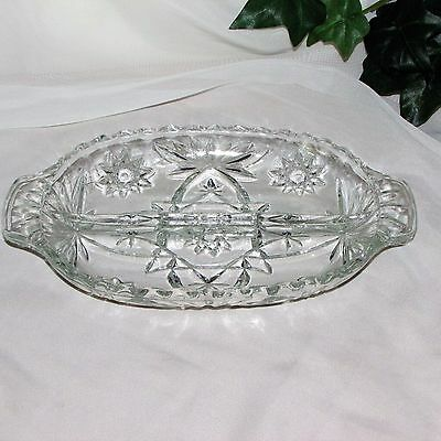 Vintage Anchor Hocking Glass Oval Divided Relish Dish Star Of David Eapc Prescut