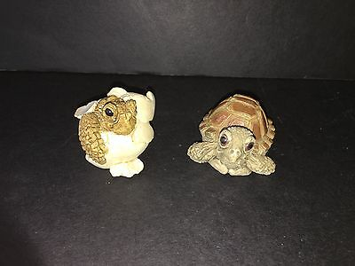 Stone Critters Littles Sea Turtle Hatchling and Sea Turtle Baby Resin RARE HTF