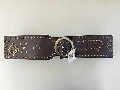 Women Wide Brown Leather Thick Belt With Studs