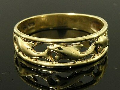 R015- Lovely Genuine 9ct Solid Yellow Gold Dolphin Filigree Band Ring size R