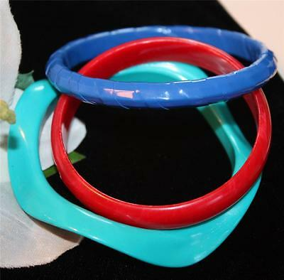 Lot of 3 Fun & Colourful Vintage Plastic Bangle Bracelets