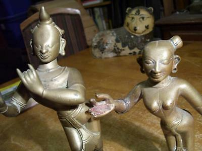 "2 Antique Bronze Hindu Statues India 10"" and 8"""