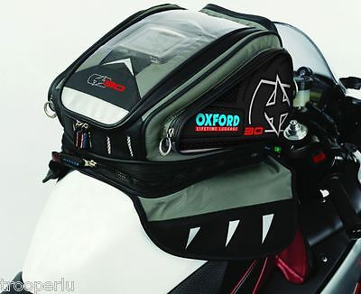 Oxford Luggage X30 Magnetic / Strap-On Motorcycle Tank Bag Anthracite #ol129