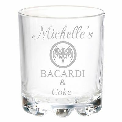 Personalised Engraved Bacardi Rum and & Coke Glass ANY DRINK Birthday Gifts