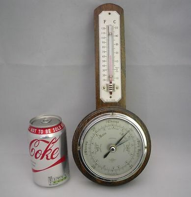 Small Vintage Oak Cased Barometer + Thermometer